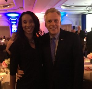 Blue Sky CEO Melissa Peterson with Governor Terry McAuliffe